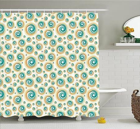 Geometric Circle Decor Shower Curtain Trippy Paint Brush Rotary ...