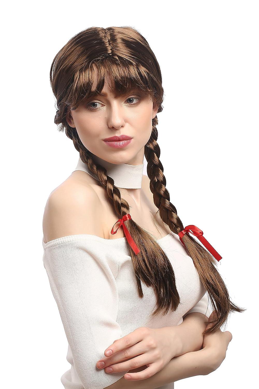 WIG ME UP ® - XR-008-P6 Perruque Cosplay Femmes, Tresses, tressés avec Rubans, Poney, Écolière Lolita Brun 60 cm