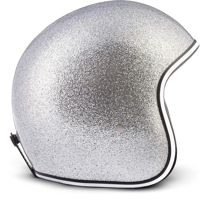 incluye bolsa de pl/ástico/ /Casco retro de motocicleta scooter Vespa /3/capas /Casco de fibra de vidrio/ /extra peque/ño y ligero/ tama/ño perfecto, Rebel R2-Flakes/