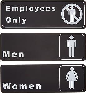 "Men - Women - Employees Only Restrooms Signs Set, Toilet Door Plates for Business Restaurant, 3"" x 9"""
