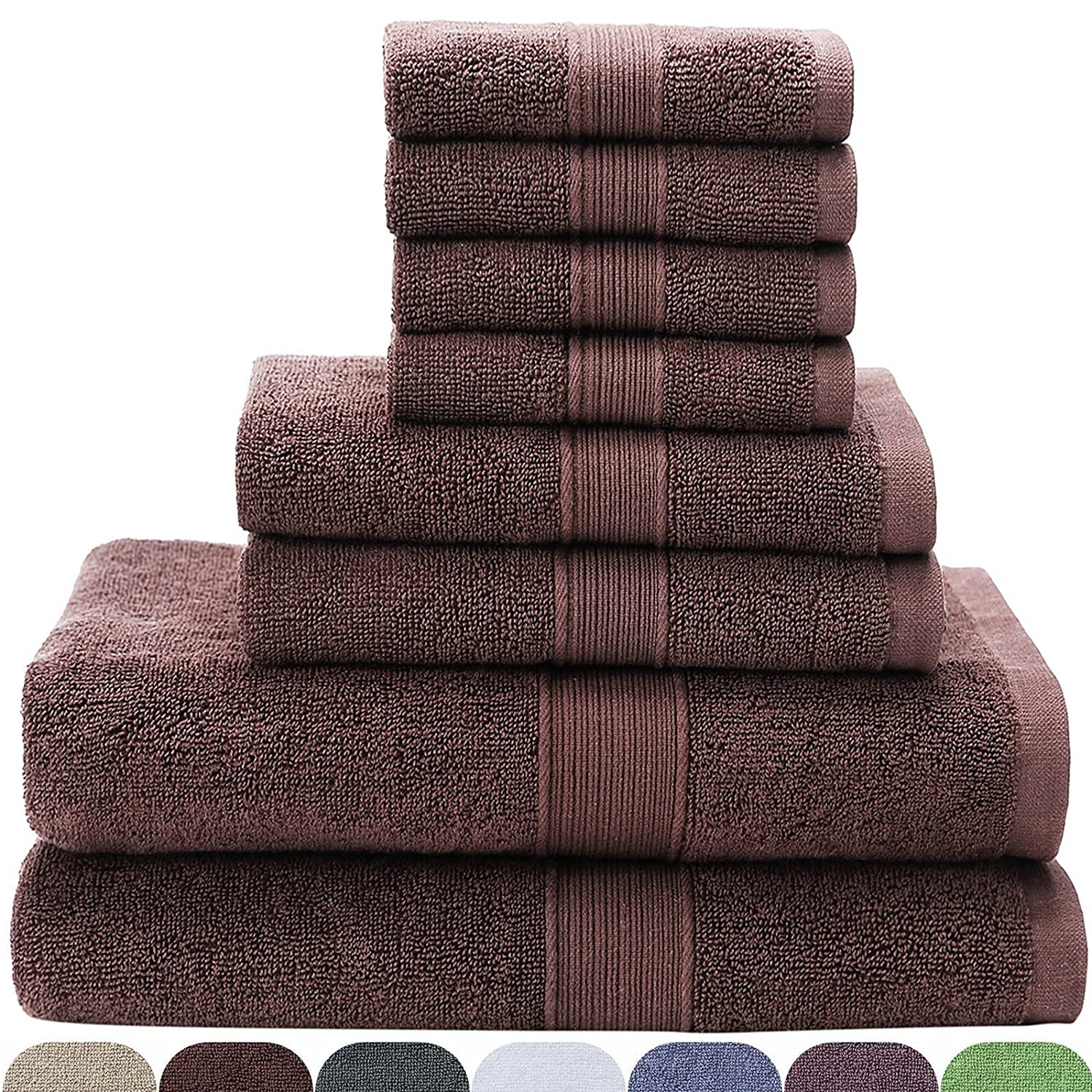 VEEYOO 8 Piece Towel Set White: 2 Bath Towels, 2 Hand Towels, 4 Washcloths, 100% Cotton Hotel & Spa Quality, Extra Soft and Highly Absorbent Bathroom Towel Set