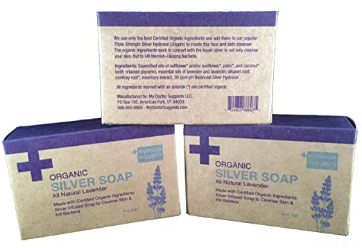 Organic Silver Soap - All Natural Lavender: Made with Certified Organic Ingredients. Silver Infused Soap to Cleanse Skin & Kill Bacteria. 4oz Bar (3 Bars)
