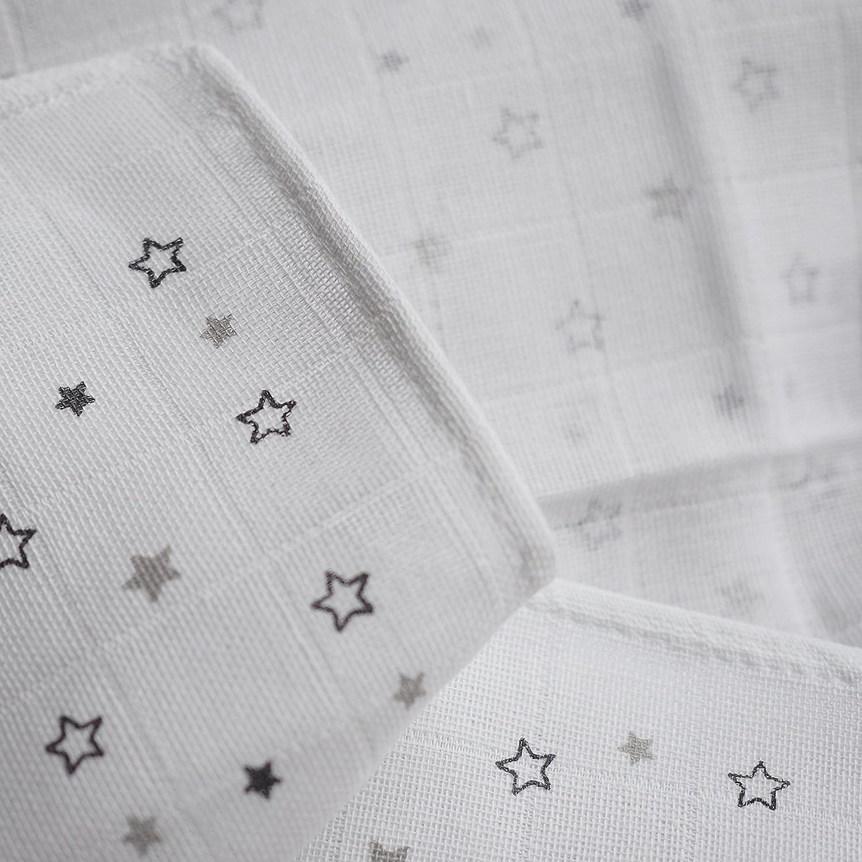 Muselina / Paño / Gasa algodón bebé - 3 Ud., 70x70 cm, estampado estrellas gris | Tejido doble con bordes reforzados, lavable a 60°C, certificado ...