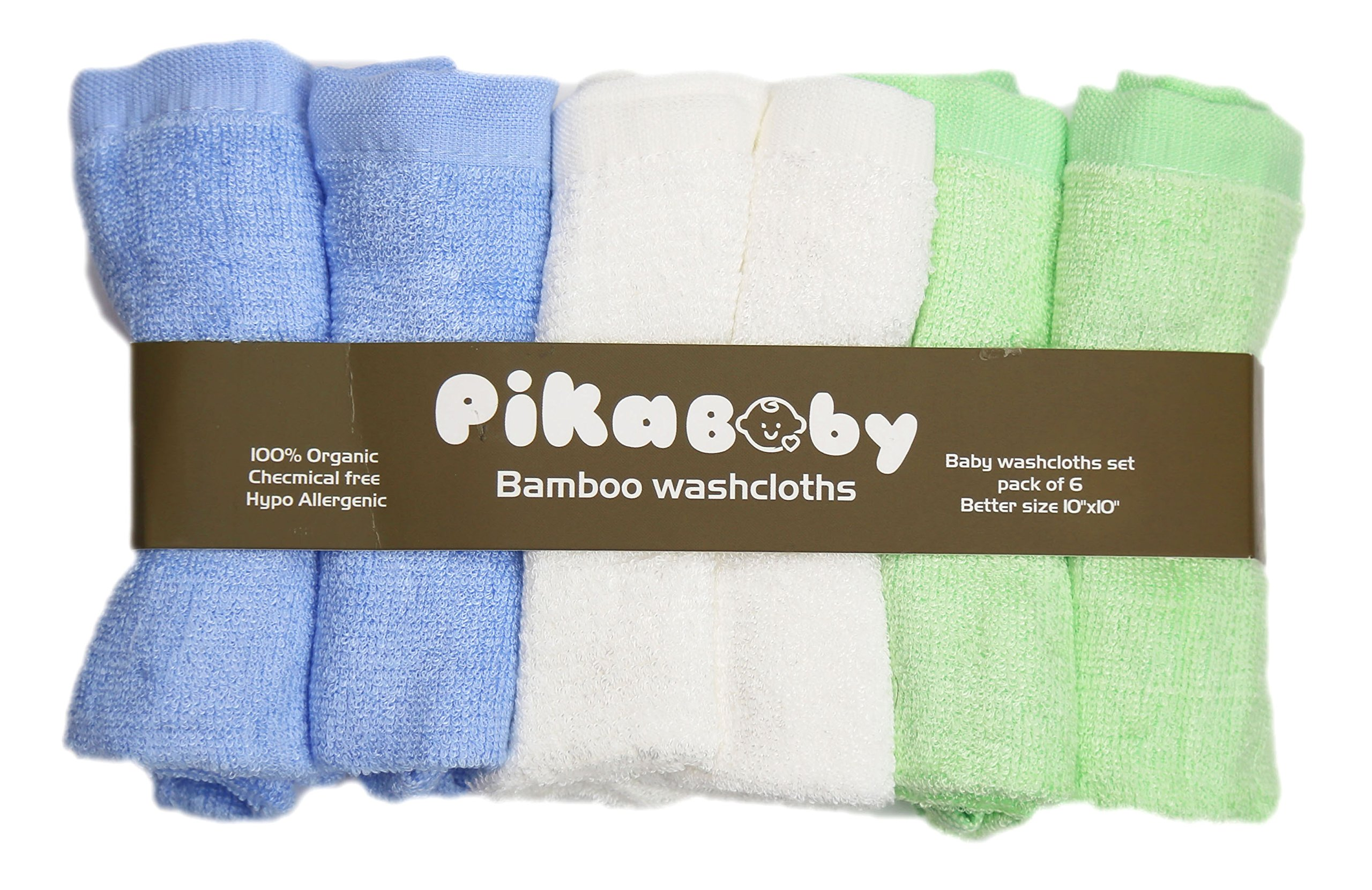 Pikababy Organic Bamboo Baby Washcloths, 6 absorbent towels- 10''x10'' Reusable Wipes