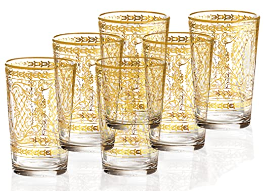 Christmas Tablescape Decor - Handmade Decorative 14K Gold Italian Glassware - Set of 6