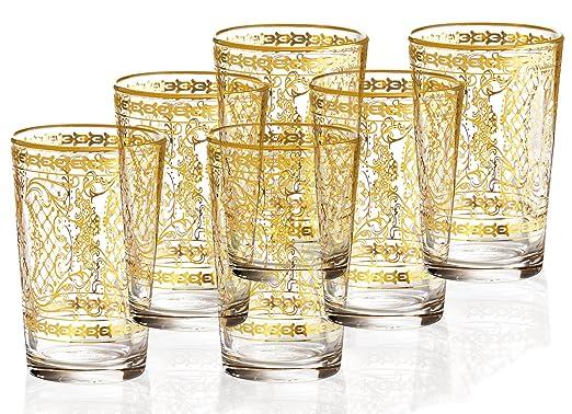 Christmas Tablescape Decor - Handmade Decorative 14K Gold Italian Glassware - Set of 6