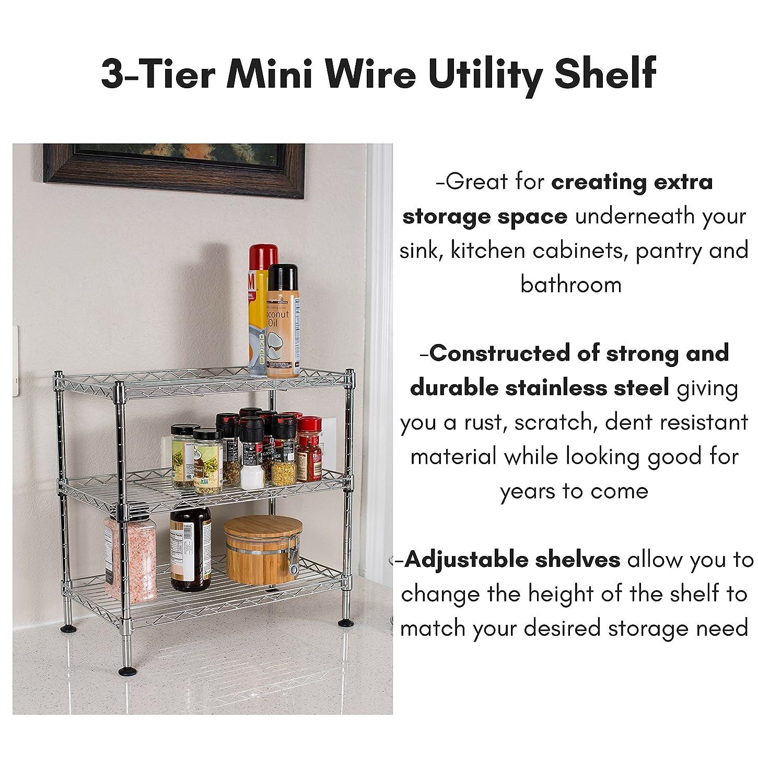 Amazon.com: Internet\'s Best 3-Tier Mini Wire Utility Shelving ...