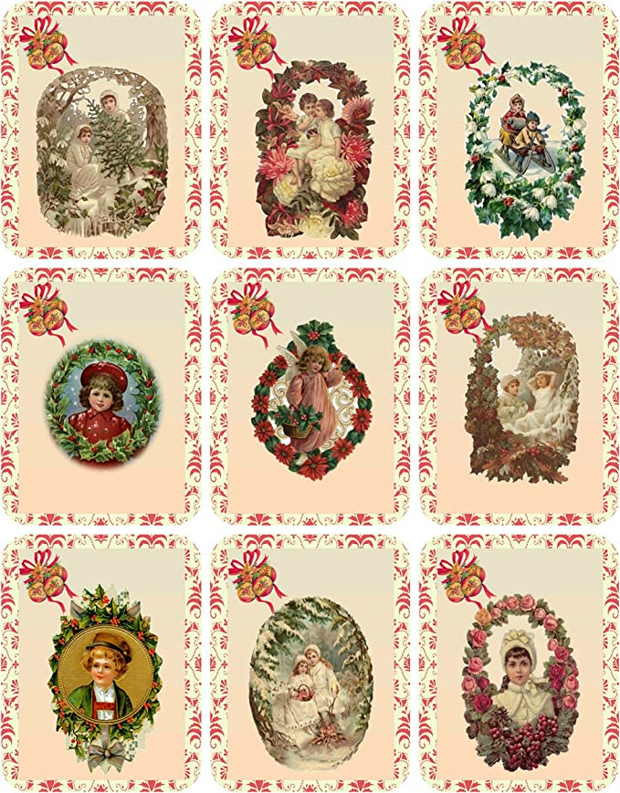 Victorian scrap decorated gift tags,Victorian children tag handmade gift tags vintage tags 3 large Victorian gift tags decorated tag