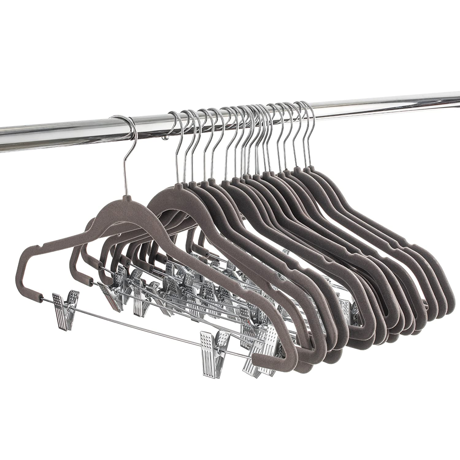 Notched Shoulder Hangers Space Saving ZOBER Velvet Hangers with Clips 20 Pack Coat Hangers /& Clip Hangers for Pants//Skirts Skirt//Pants Hangers 360/° Hook Strong /& Durable Non Slip Hangers