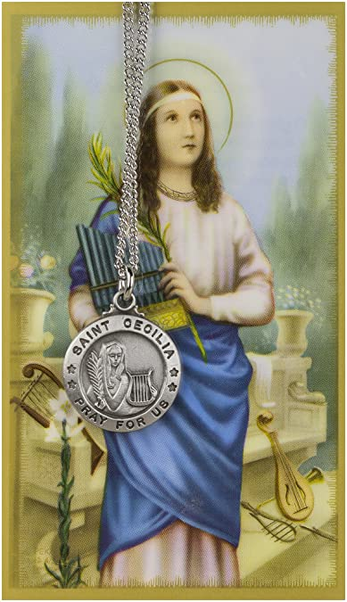 Amazon saint cecilia 34 inch pewter medal pendant necklace saint cecilia 34 inch pewter medal pendant necklace with holy prayer card aloadofball Image collections