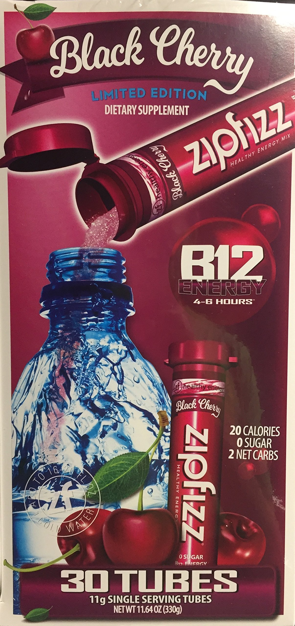 Zipfizz Healthy Energy Drink Mix Black Cherry Limited Edition, 30 count by Zipfizz