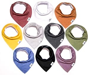 Little Munchkins Solid 10-Pack Baby Bibs, Baby Bandana Drool Bibs for Boys Girls, 100% Organic Cotton, Plain Colors, Unisex 10 Pack Baby Shower Gift Set for Teething and Drooling, Soft and Absorbent