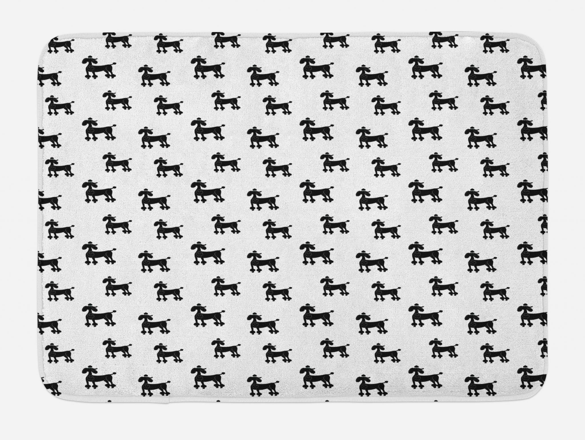 Lunarable Dogs Bath Mat, Cute Poodle Puppy Silhouette Animals in Monochrome Minimalist Artistic Design, Plush Bathroom Decor Mat with Non Slip Backing, 29.5 W X 17.5 W Inches, Black and White by Lunarable