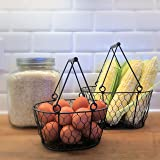 """The Farmer's Market Chicken Wire Baskets, Set of 2, Iron, Top Carry Handles With Rustic Brown Roll Detail, 8 1/2"""" L x 5 3/4"""" W and 7"""" L x 5"""" W, Oval Shape, By Whole House Worlds"""