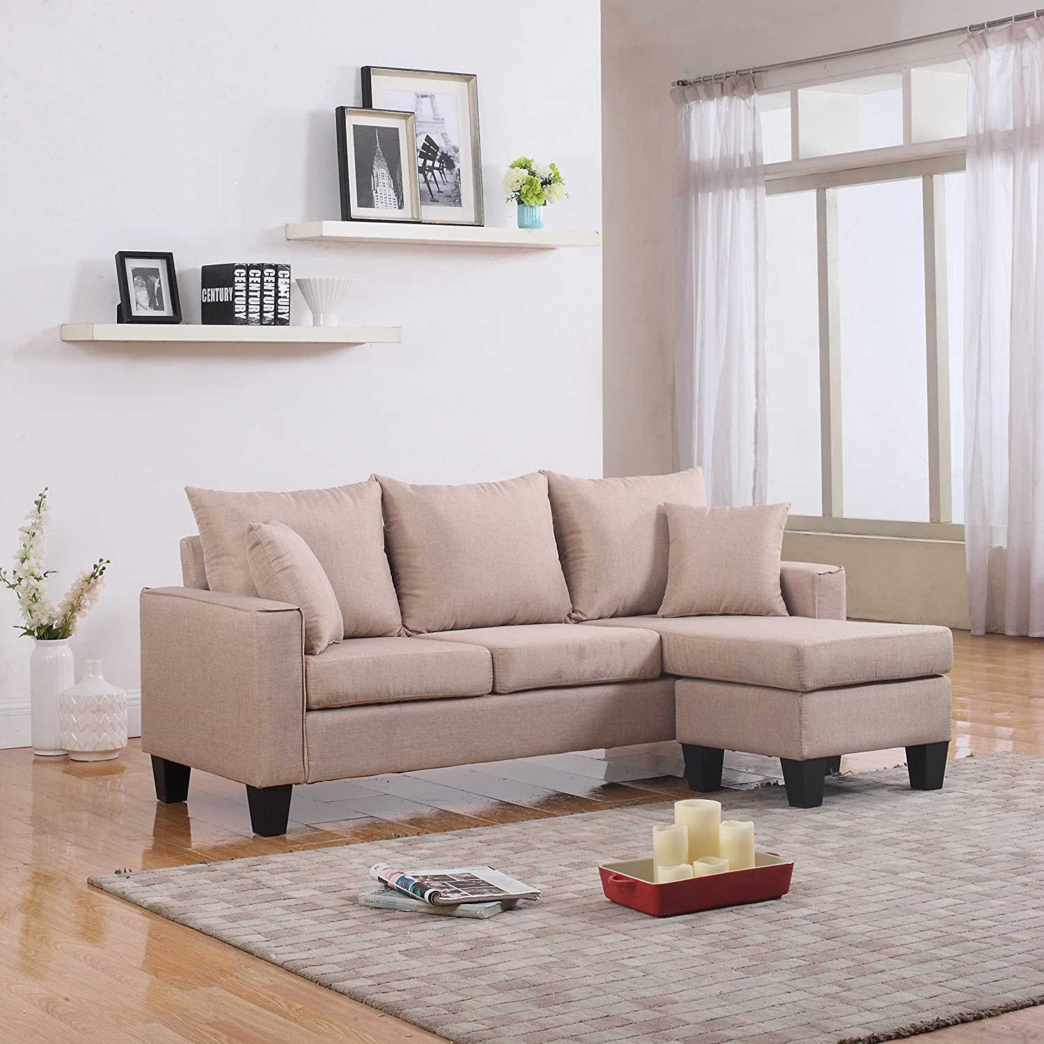 Amazon.com Modern Linen Fabric Small Space Sectional Sofa with Reversible Chaise (Apricot) Kitchen u0026 Dining : sectional sofa with reversible chaise - Sectionals, Sofas & Couches