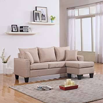 modern linen fabric small space sectional sofa with reversible chaise apricot - Linen Fabric