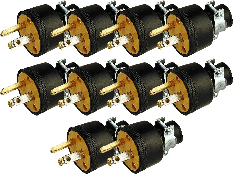 Black Duck Brand Male Extension Cord Replacement Electrical Plugs End (10 Male Electrical Plugs End)