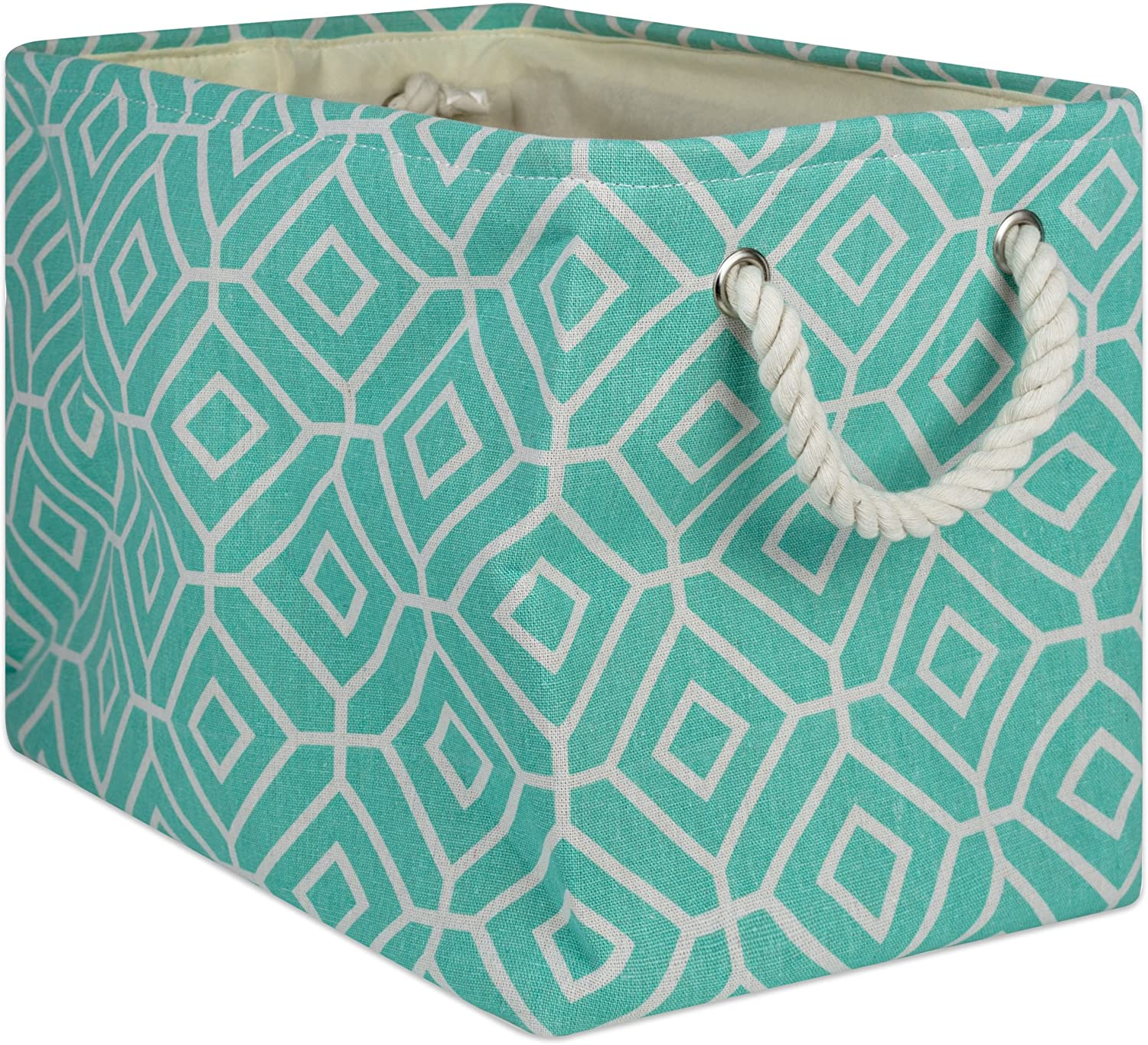DII Collapsible Polyester Storage Basket Or Bin with Durable Cotton Handles, Home Organizer Solution for Office, Bedroom Closet, Toys, and Laundry, Medium-16x10x12, Stained Glass Aqua