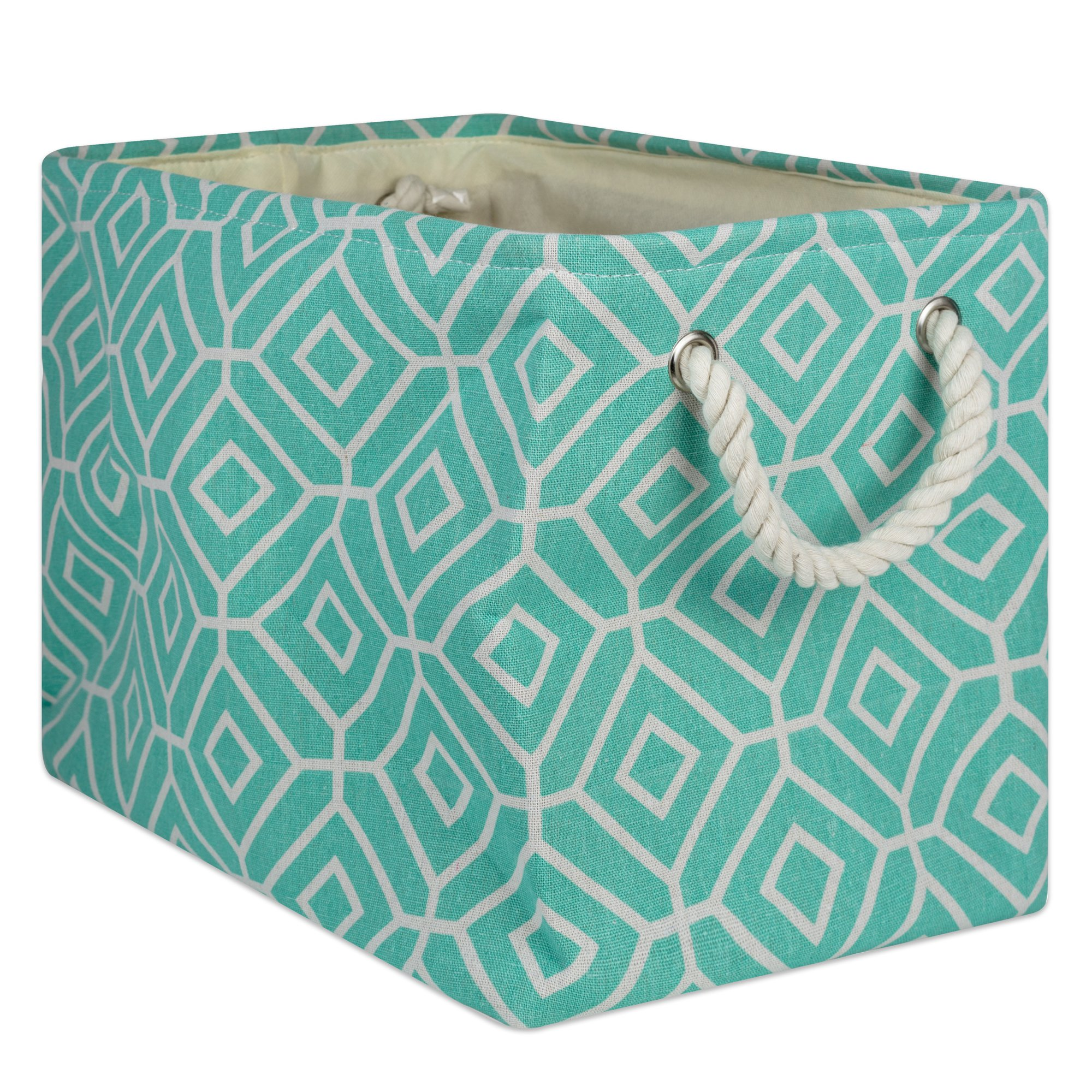 DII Collapsible Polyester Storage Basket or Bin with Durable Cotton Handles, Home Organizer Solution for Office, Bedroom, Closet, Toys, and Laundry, Medium - 16 x 10 x 12, Stained Glass Aqua