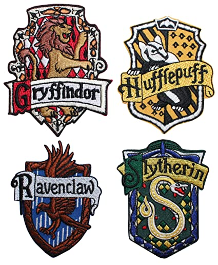 Set Of 4 Hogwarts House Crests Robe Emblems Harry Potter Iron On Applique  Patch