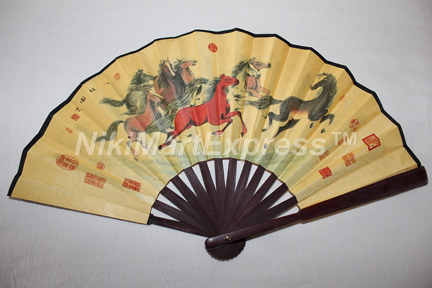 Amazon.com: Beautiful Chinese Year of Horse Bamboo & Silk Hand ...