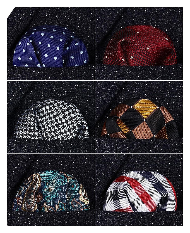 HISDERN 6 Piece Assorted Printing Patterns Men's Pocket Square Handkerchief Wedding Party Gift