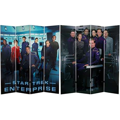 Oriental Furniture 6 Ft. Tall Double Sided Star Trek Enterprise Canvas Room  Divider