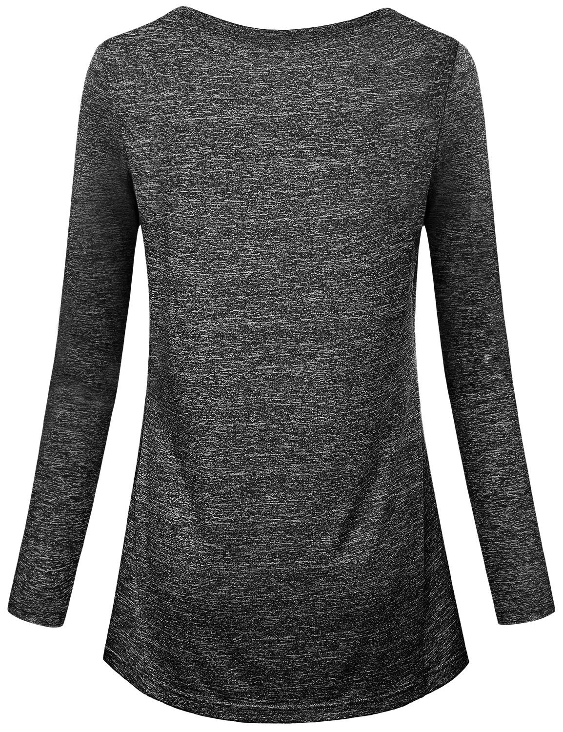 Kimmery Workout Shirts for Women, Ladies Top Round Neck Long Sleeve Heathered Yoga Blouse Moisture Wicking Sun Protection Lightweight Dri Fit Tee Performance Black Medium by Kimmery (Image #2)