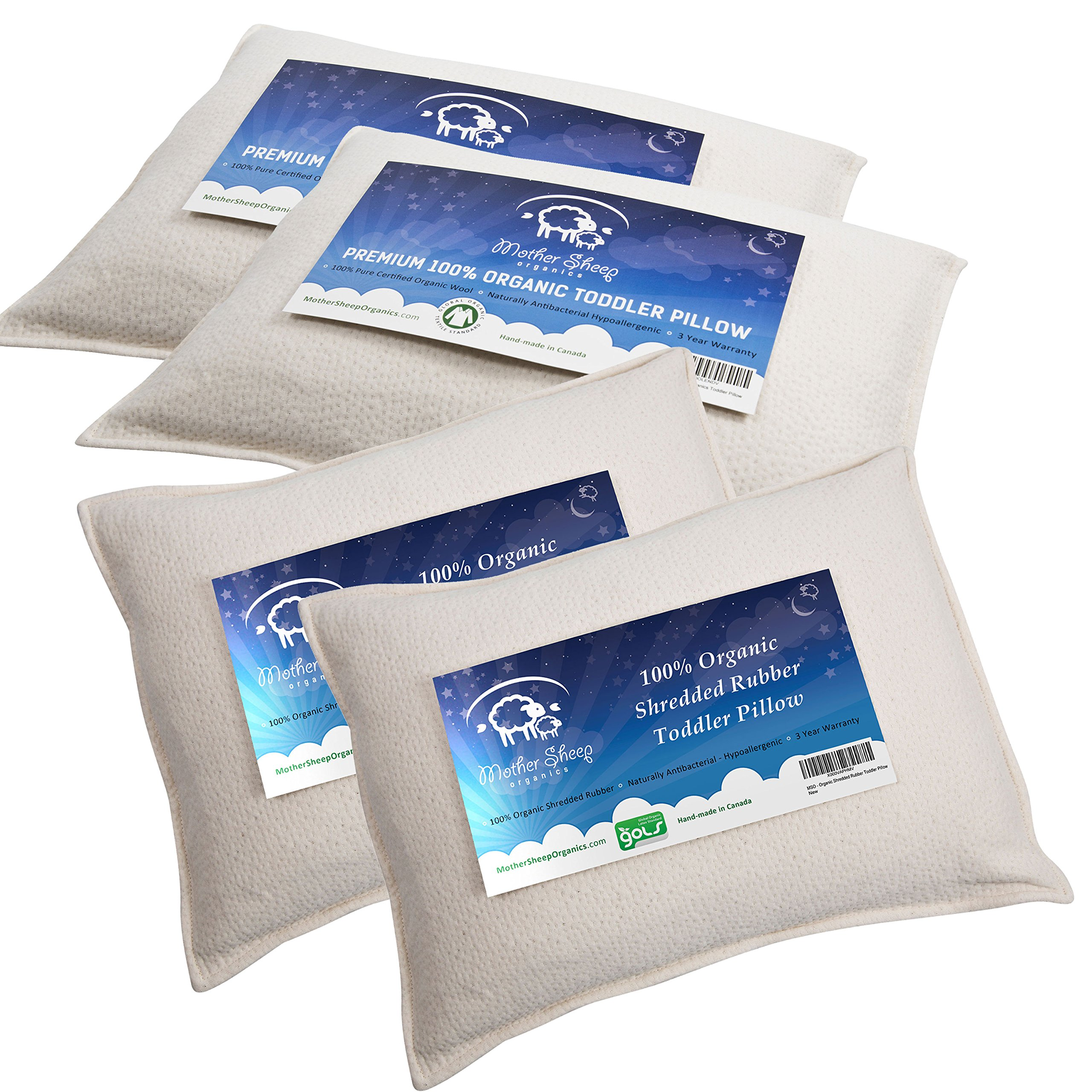 Bundle of 4 items – 2 Organic Wool Toddler Pillows & 2 Organic Shredded Rubber Toddler Pillows, All Natural & 100% GOTS Certified Pure Organic, Wool 'Pearls' Filling & 100% GOLS Certified Pure Organic