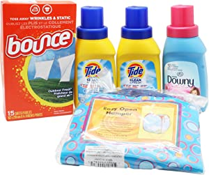 Dorm Room Laundry Kit with Tide Laundry Liquid Detergent, Downy Softener, Dryer Sheets & Bonus Hamper