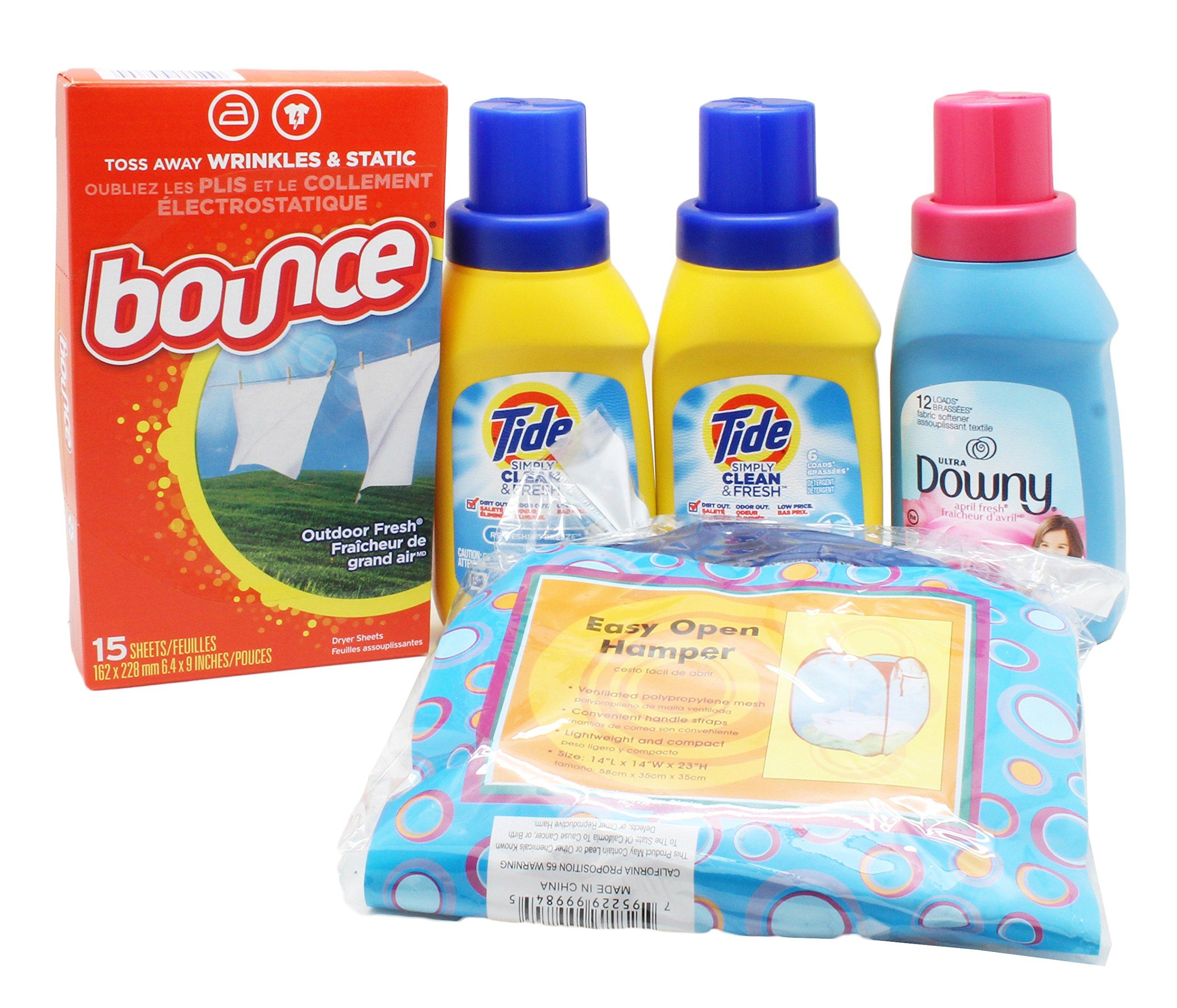 Dorm Room Laundry Kit with Tide Laundry Liquid Detergent, Downy Softener, Dryer Sheets & Bonus Hamper