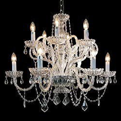 Starthi Crystal Chandelier 12-Light Antique Pendant Lamp Ceiling Lighting Fixture H 24'' W 30''