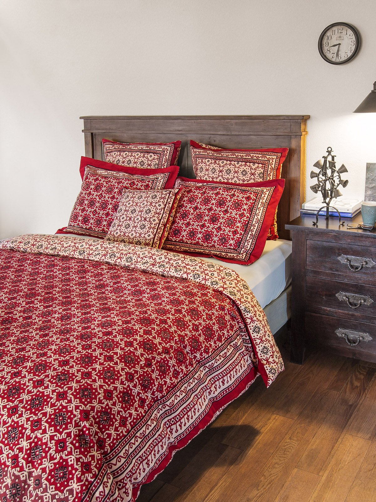 Ruby kilim rustic designer red black cotton king duvet cover 108x90