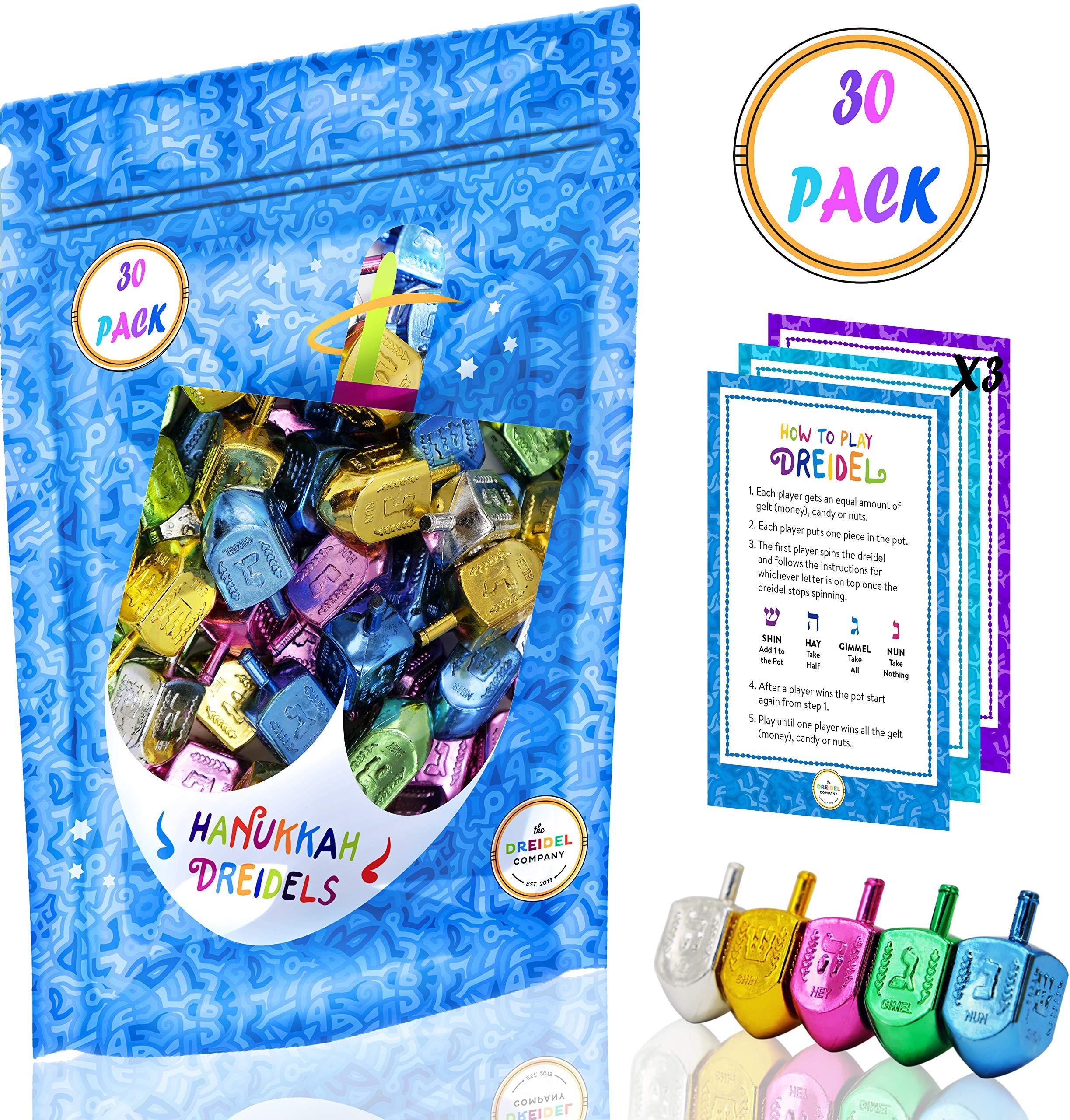 Hanukkah Dreidels Metallic Multi-Colored Draydels with English Translation - Includes 3 Dreidel Game Instruction Cards (30-Pack)
