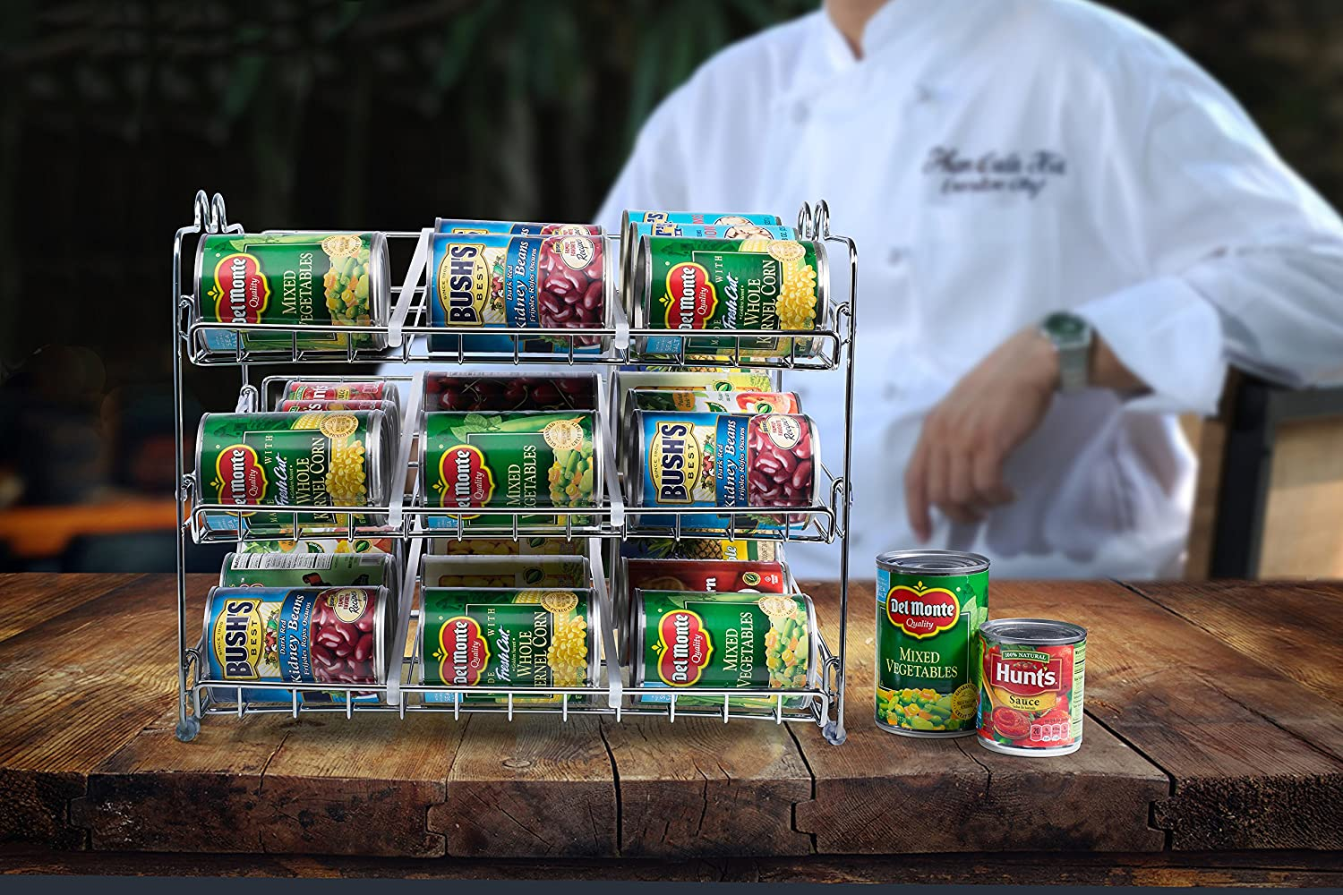 Chrome Finish Storage for 36 cans Kitchen Cabinet or Counter-top Stackable Can Rack Organizer Great for the Pantry Shelf Stack Another Set on Top to Double Your Storage Capacity.