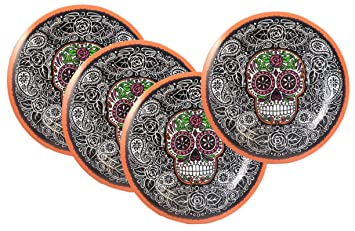 Set of Four Sugar Skull Plates - Day of the Dead Dinnerware  sc 1 st  Amazon.ca & Set of Four Sugar Skull Plates - Day of the Dead Dinnerware: Amazon ...