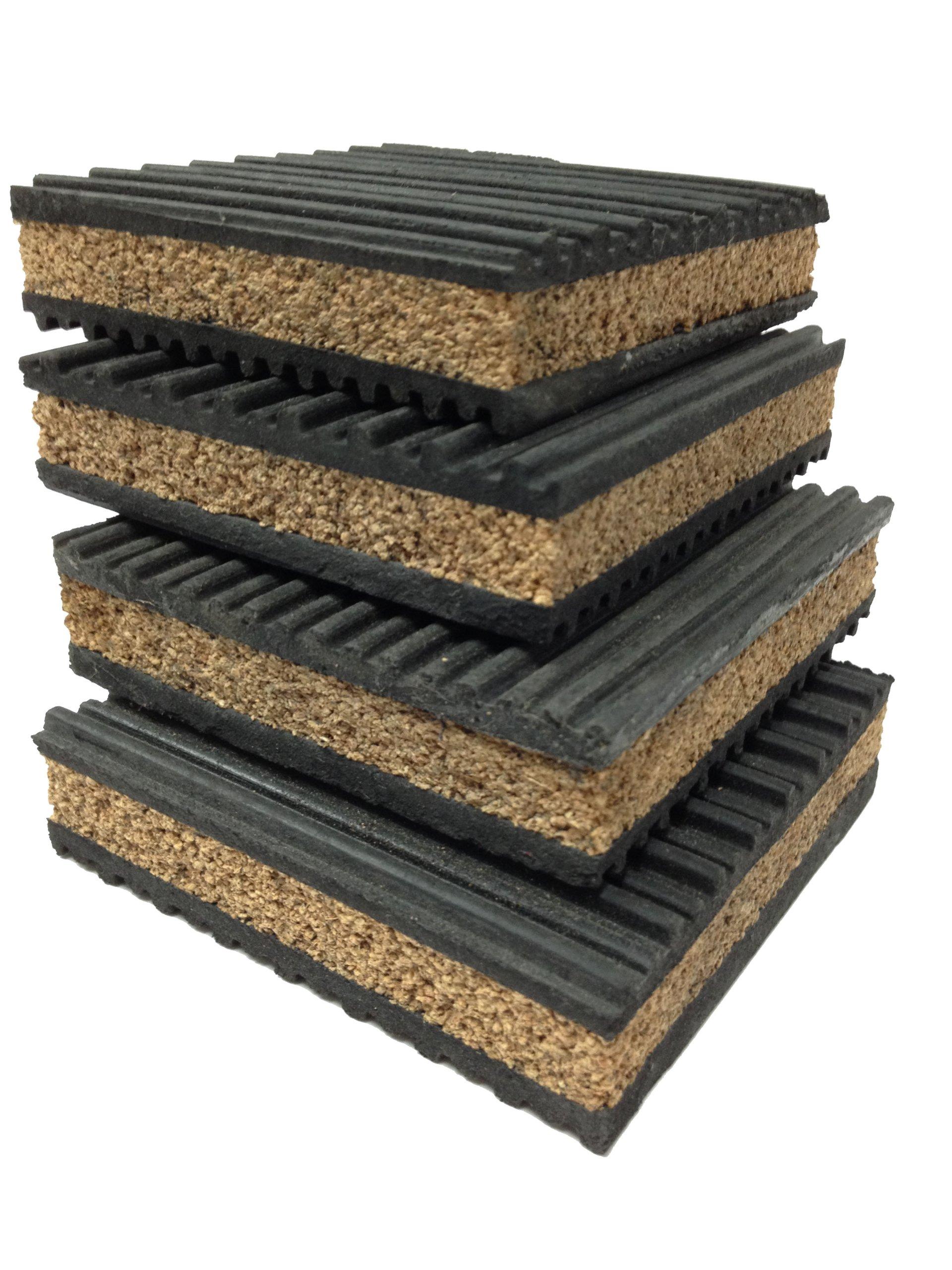4 Pack of Anti Vibration Pads 4'' x 4'' x 7/8'' Rubber/Cork Vibration isolation pads