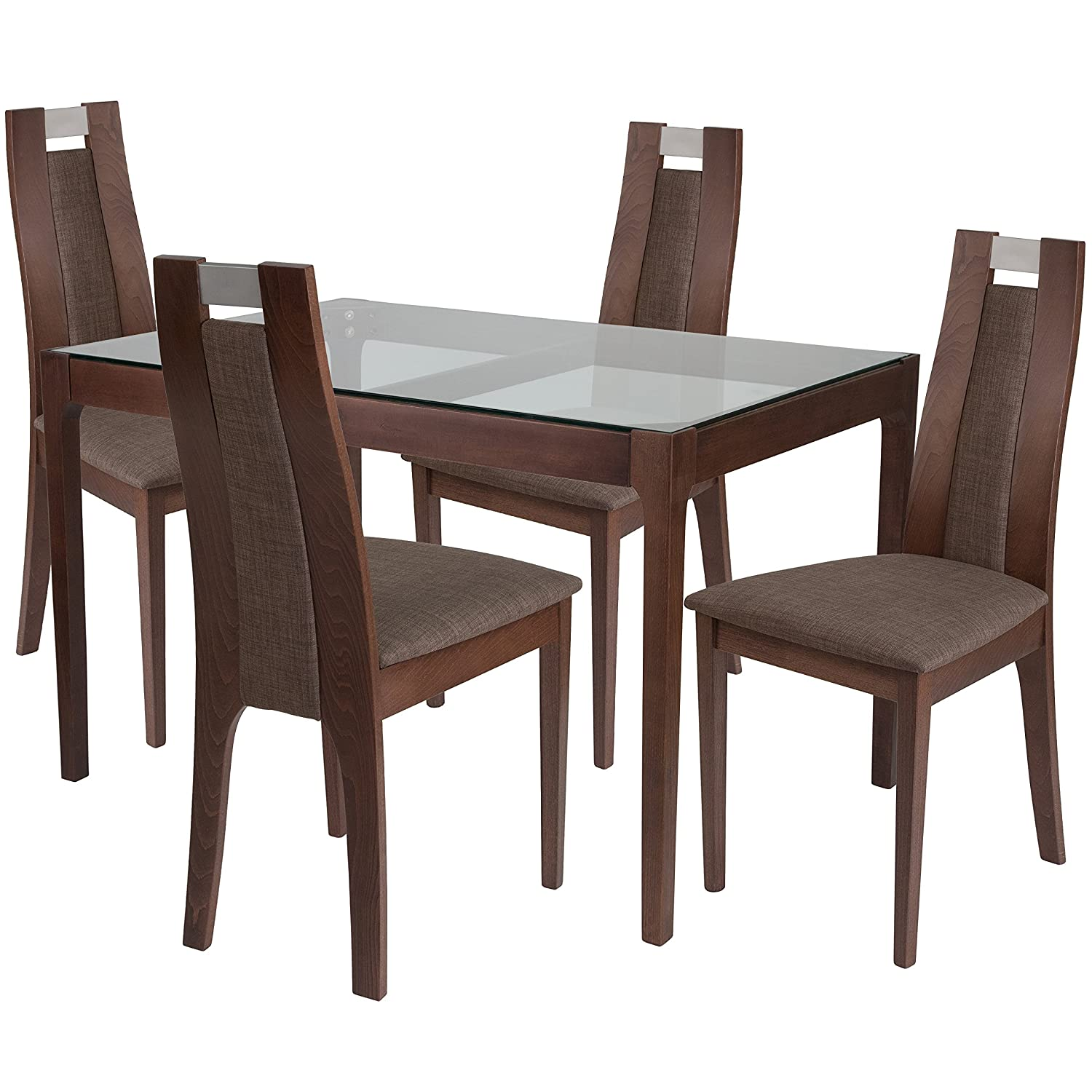 Amazon com flash furniture saratoga 5 piece walnut wood dining table set with glass top and curved slat wood dining chairs padded seats