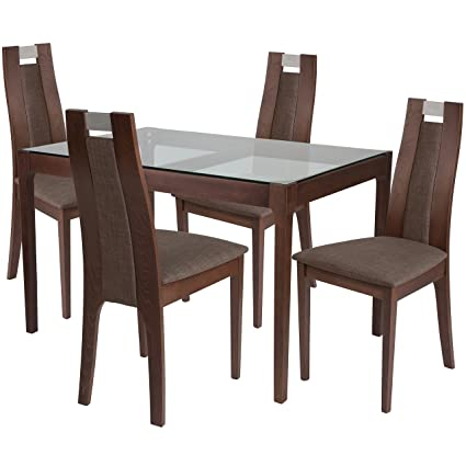 Phenomenal Amazon Com Flash Furniture Saratoga 5 Piece Walnut Wood Download Free Architecture Designs Scobabritishbridgeorg