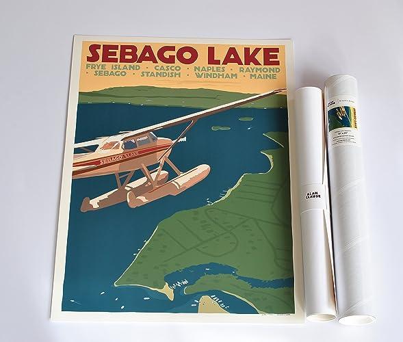 Sebago Lake Maine Seaplane Print (18x24 Travel Poster, Wall Decor Art)
