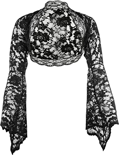 Grace /& Flair Women Lace Bolero Shrug Jacket Open 3//4 Sleeve Cropped Cover up
