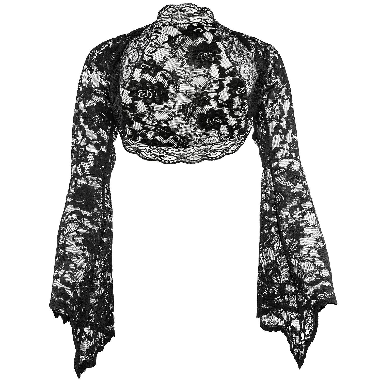 Grace and Flair Black, White, Ivory Lace Long Bell Sleeve Bolero Shrug Sizes 8-30