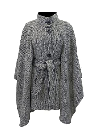 Amazon.com: Blanco y Negro Tweed Belted Cape por Diseñador ...