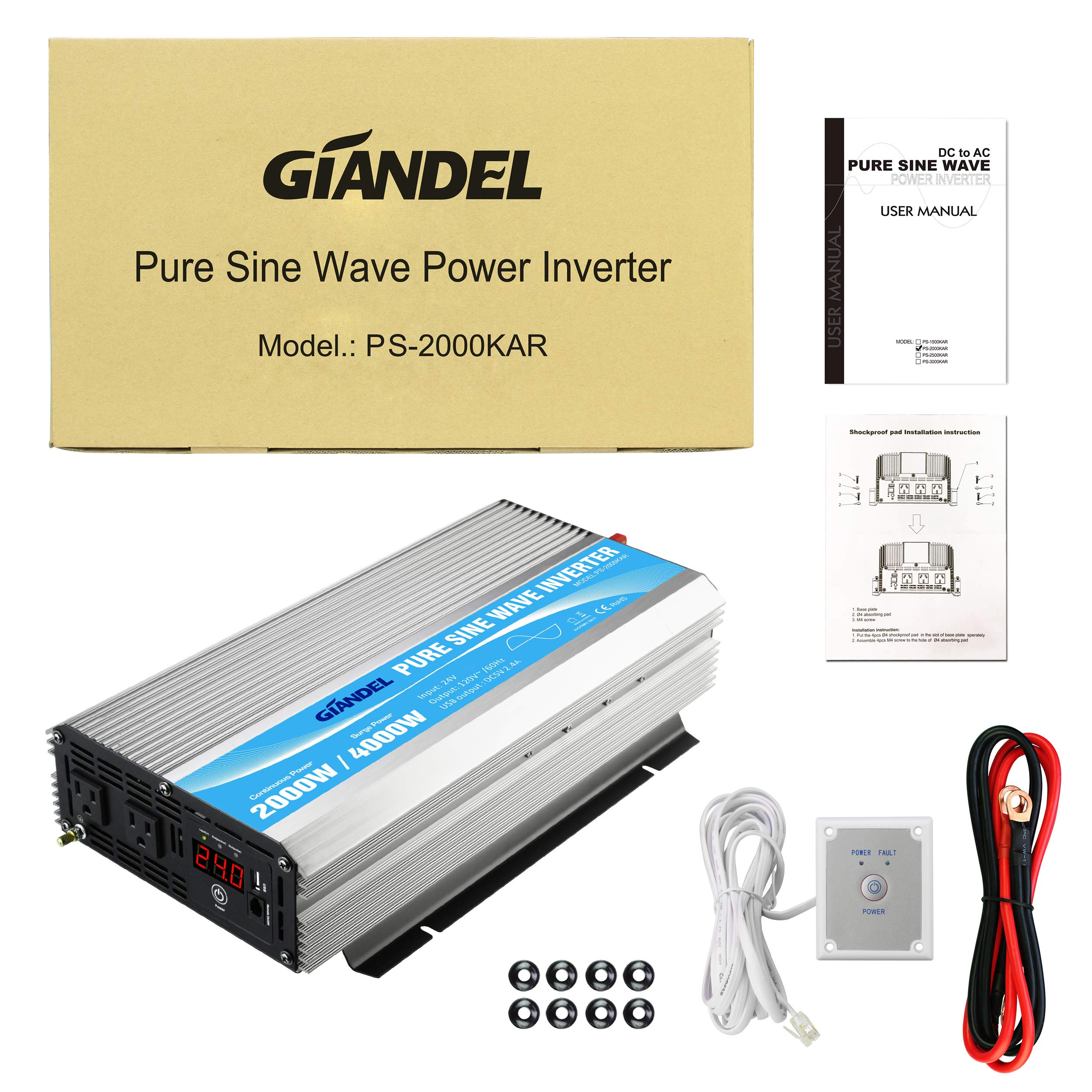 Giandel 2000W Pure Sine Wave Power Inverter DC 24V to AC120V with Dual AC Outlets with Remote Control 2.4A USB and LED Display by Giandel (Image #7)