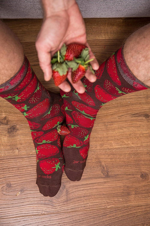 2 Pares Rainbow Socks Mujer Hombre Peras y Fresas en Tarro Calcetines Fantasia