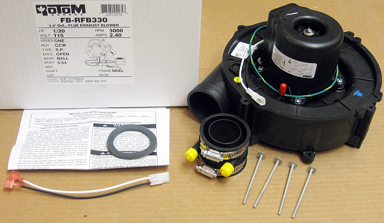 Replacement for ICP Furnace Vent Venter Exhaust Draft Inducer Motor 1164280