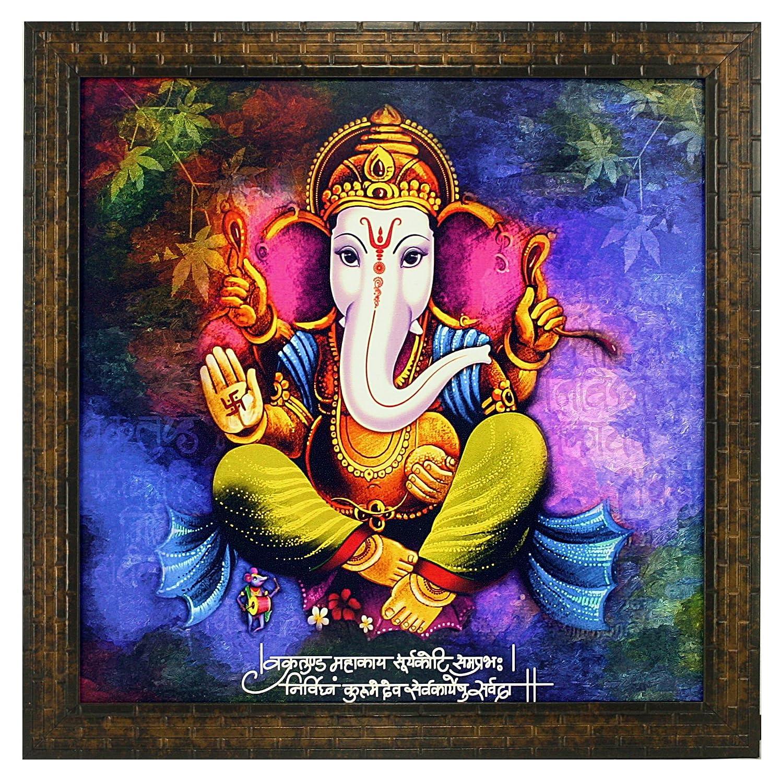 Indianara Lord Ganesha Square Synthetic Wood Art Painting 35 5 Cm X 35 5 Cm X 3 Cm