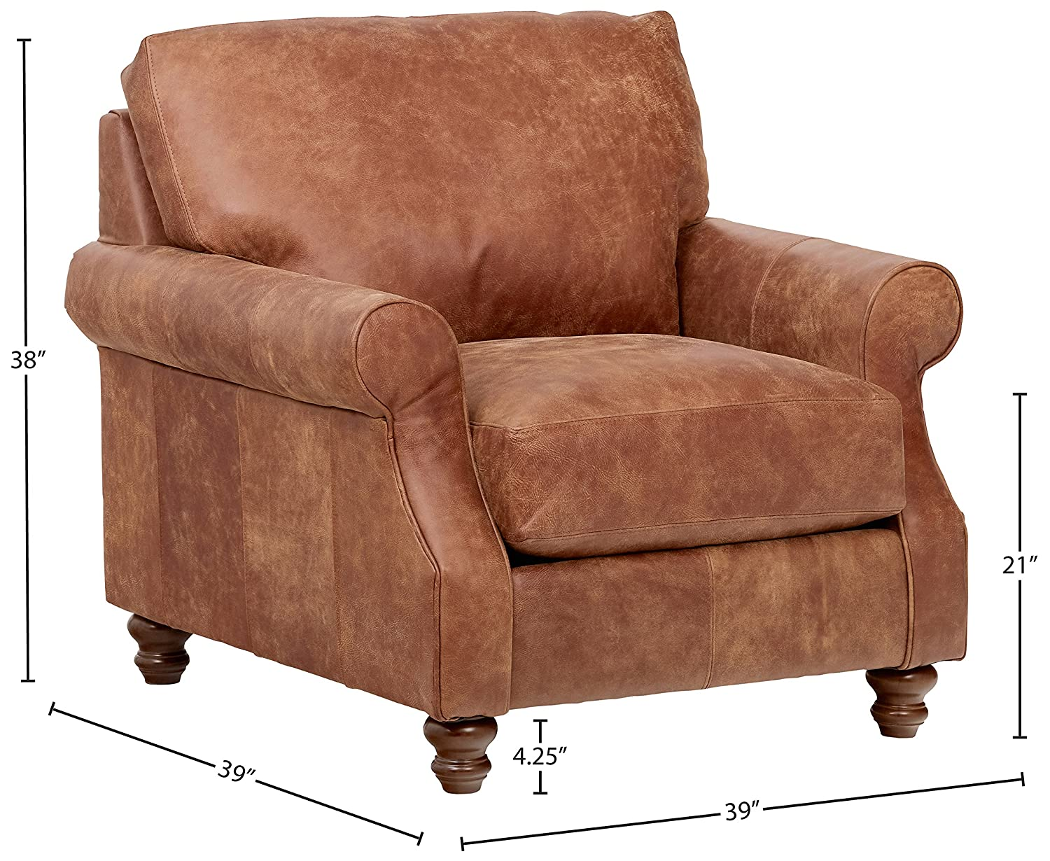 Stone Beam Charles Classic Oversized Leather Accent Arm Chair, 39 W, Saddle Brown