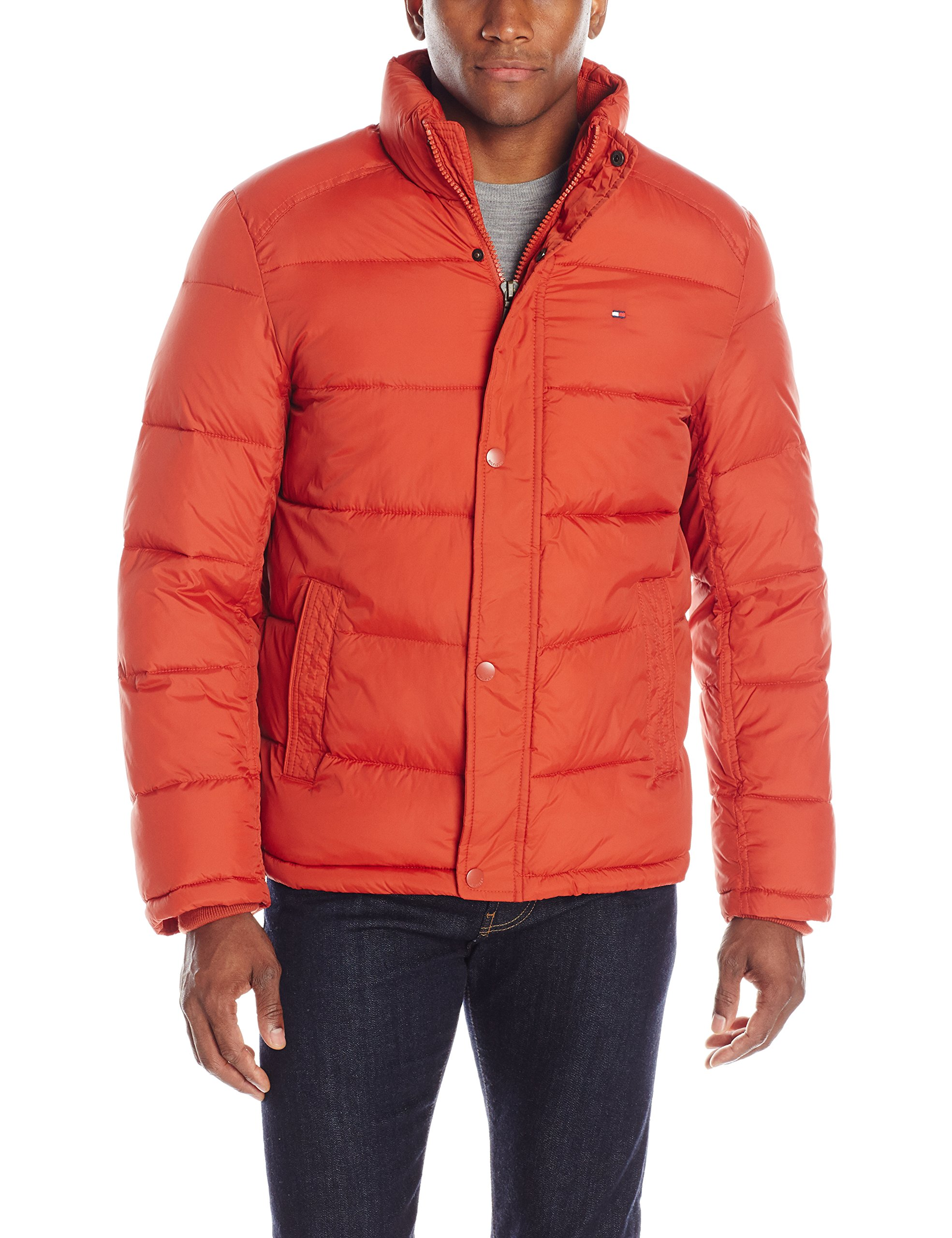 Tommy Hilfiger Men's Classic Puffer Jacket, Burnt Orange, Large by Tommy Hilfiger