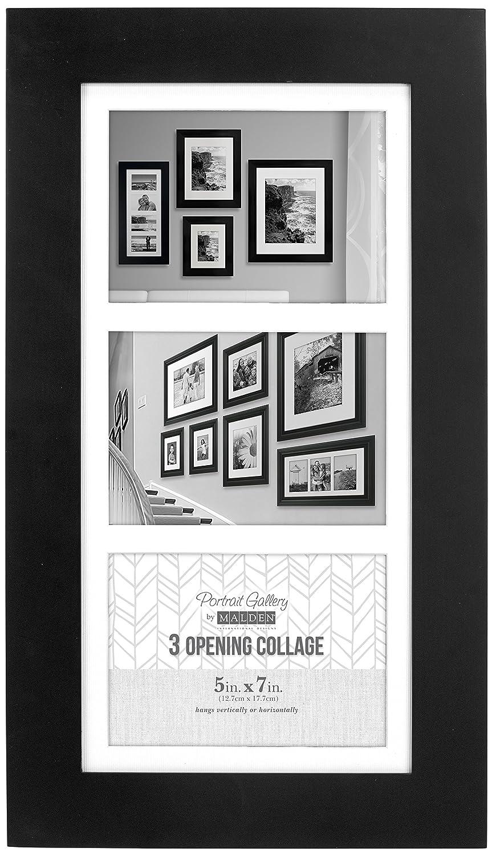 Malden International Designs Manhattan Matted 2 Opening 5x7 Black ...